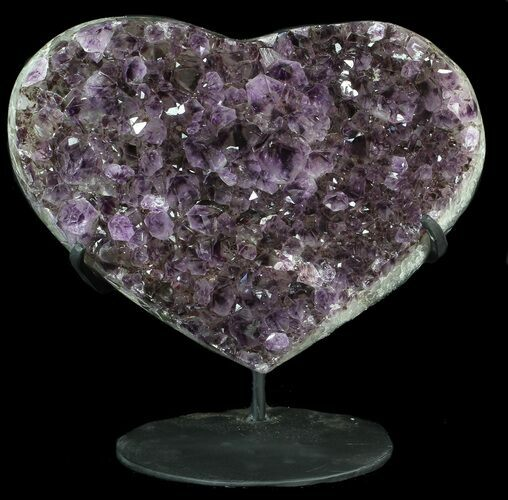 "10.9"" Amethyst Crystal Heart On Metal Stand - Uruguay"