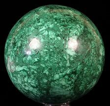 "Huge, 6"" Polished Malachite Sphere - Reduced Price For Sale, #62978"