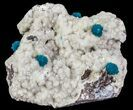 Spectacular Blue Cavansite Clusters on Stilbite - India - #64822-1