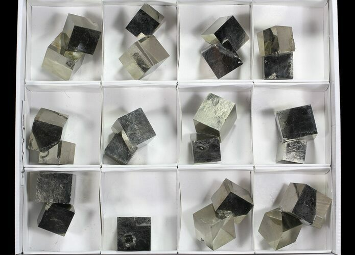 Large, Cubic Pyrite Clusters From Spain (Wholesale Flat)  - 12 Pieces