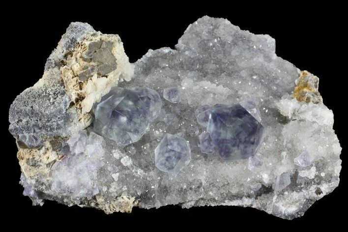 "2.7"" Blue Fluorite On Quartz - Fujian Province, China"