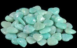 Small Polished Amazonite Hearts For Sale, #75641