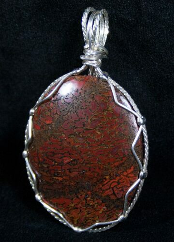 Red Agatized Dinosaur Bone Pendant