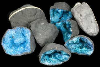 "Buy Wholesale Box: 3 - 4"" Dyed (Blue) Quartz Geodes - 50 Pieces - #77266"