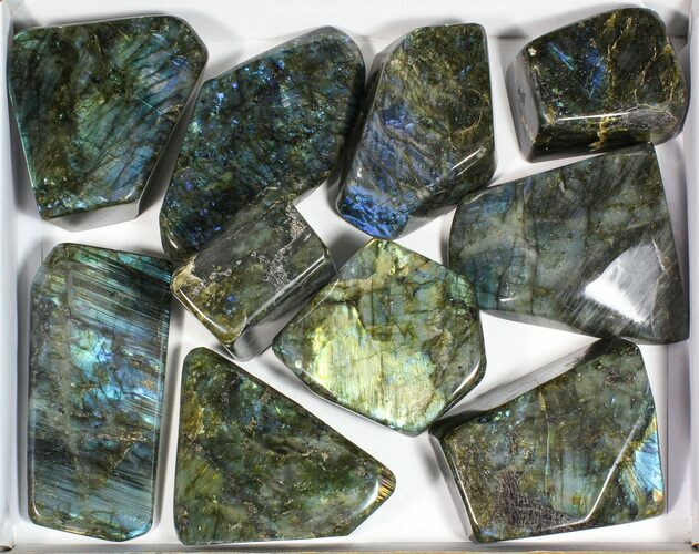 Wholesale Lot: 20 Lbs Free-Standing Polished Labradorite - 10 Pieces