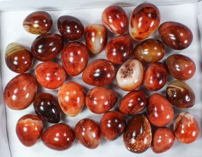 Wholesale Box: 13 Lbs Polished Carnelian Eggs - 30 Pieces
