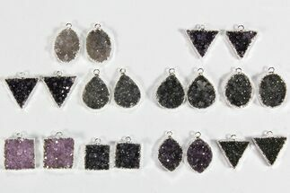 Buy Wholesale Lot: Amethyst Slice Pendants/Earrings - 10 Pairs - #78475