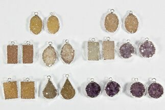 Buy Wholesale Lot: Amethyst Slice Pendants/Earrings - 10 Pairs - #78478