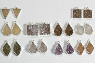 Wholesale Lot: Amethyst Slice Pendants/Earrings - 10 Pairs For Sale, #78479
