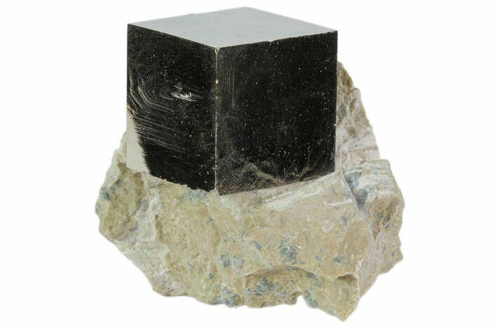 "1"" Natural Pyrite Cube In Rock From Spain"