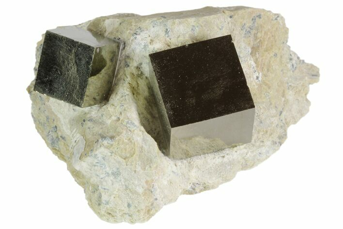 Natural Pyrite Cubes In Rock From Spain