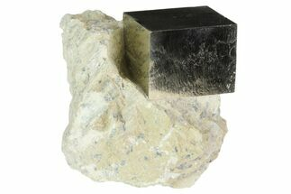 "1.2"" Natural Pyrite Cube In Rock From Spain For Sale, #82100"