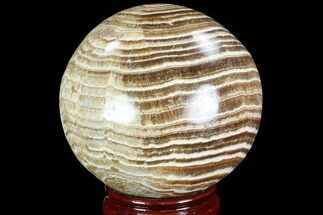 "3.6"" Polished, Banded Aragonite Sphere - Morocco For Sale, #82244"