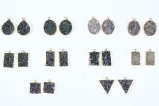 Buy Wholesale Lot: Amethyst Slice Pendants/Earrings - 10 Pairs - #84088