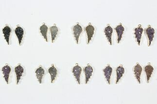 Wholesale Lot: Amethyst Slice Pendants/Earrings - 10 Pairs For Sale, #84092