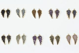 Wholesale Lot: Amethyst Slice Pendants/Earrings - 10 Pairs For Sale, #84098