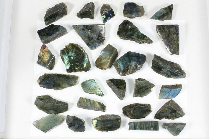 Wholesale: 1kg One Side Polished Labradorite - 28 Pieces