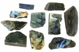 Buy Wholesale: 1kg One Side Polished Labradorite - 10 Pieces - #84541