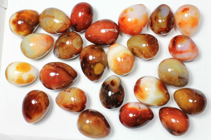 "Wholesale Box: 2-3"" Polished Carnelian Eggs - 24 Pieces"
