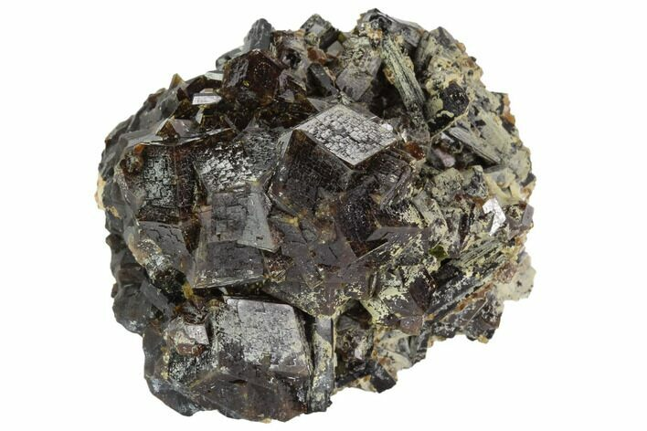 "2.2"" Garnet Cluster with Black Tourmaline (Schorl) - Pakistan"