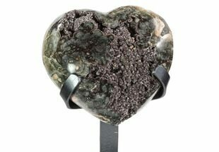 "Buy 5.2"" Beautiful Gray/Green Quartz Heart On Metal Stand - Uruguay - #101350"