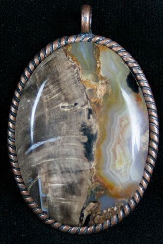 Blue Forest Petrified Wood Pendant