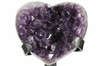 "3.8"" Amethyst Crystal Heart On Metal Stand - Uruguay For Sale, #102623"