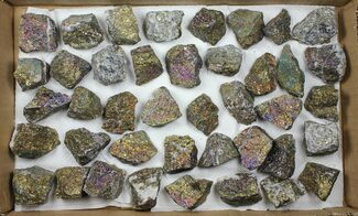 Buy Wholesale Flat: 40 Pieces Peacock Ore (Chalcopyrite) - Morocco - #103828