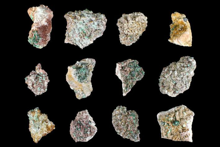 Wholesale Lot: Rosasite, Selenite, & Ferroan Dolomite - 12 Pieces