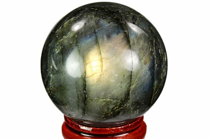 "1.65"" Flashy, Polished Labradorite Sphere - Great Color Play"