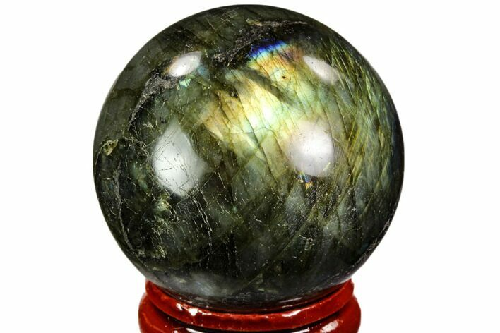 "1.5"" Flashy, Polished Labradorite Sphere - Great Color Play"