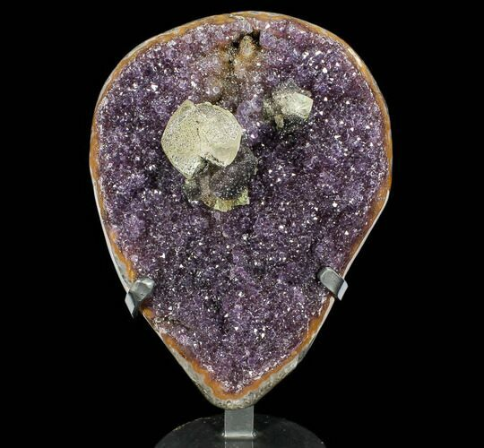 "16.4"" Amethyst Geode With Calcite on Metal Stand - Uruguay"