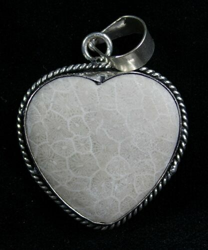Fossil Coral Heart Pendant - 20 Million Years Old