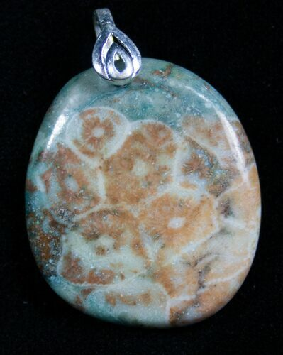 Green Fossil Coral Pendant - 20 Million Years Old
