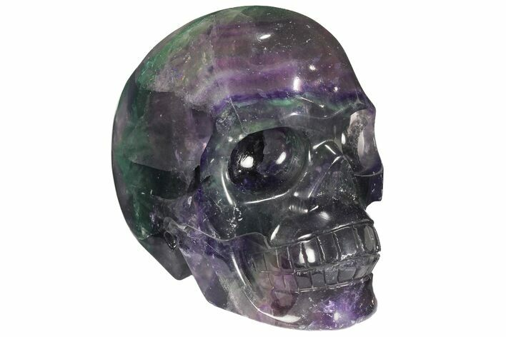 "4.7"" Colorful, Banded (Rainbow) Fluorite Skull"