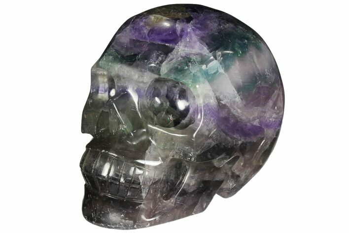 "5.1"" Colorful, Banded (Rainbow) Fluorite Skull"