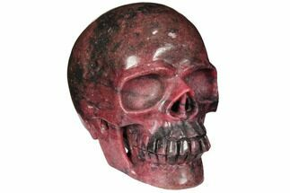 "5.2"" Realistic, Carved Rhodonite Skull - Madagascar For Sale, #111497"