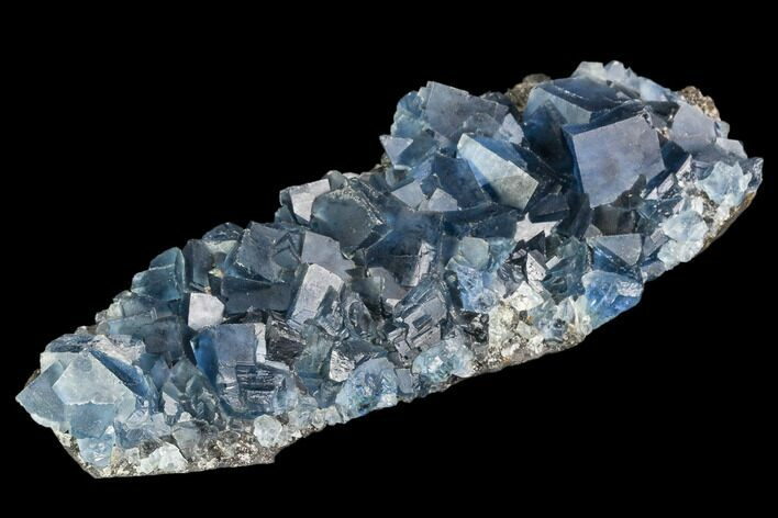 "4.9"" Blue Cubic Fluorite on Quartz - China"