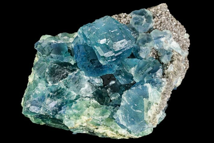 "4"" Blue-Green Stepped Fluorite on Quartz - China"