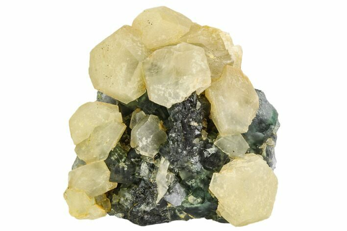 "4.2"" Yellow Calcite Crystals on Green Fluorite - China"