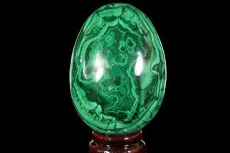 "Buy Stunning, 3.6"" Polished Malachite Egg - Congo - #113413"