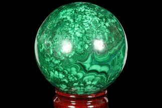 "Buy 3.4"" Flowery, Polished Malachite Sphere - Congo - #113419"