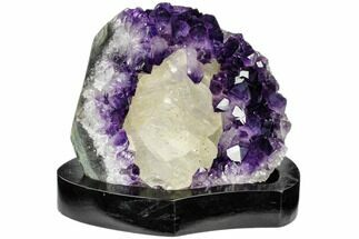 "Buy 5.7"" Dark Purple Amethyst Cluster With Calcite - Wood Base - #113935"