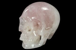 "6"" Realistic, Polished Brazilian Rose Quartz Crystal Skull For Sale, #116291"