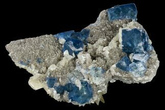 "5.3"" Blue-Green Fluorite and Yellow Calcite on Quartz - Fluorescent! For Sale, #114020"