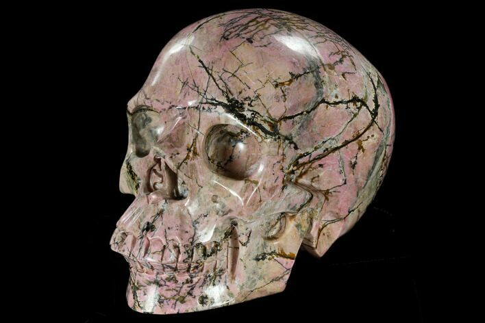 "6.1"" Realistic, Carved Rhodonite Skull - Madagascar"