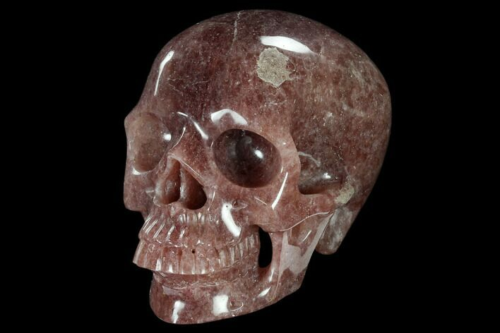 "6"" Realistic, Carved Strawberry Quartz Crystal Skull"