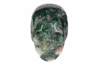 "2"" Realistic, Polished Moss Agate Skull  For Sale, #116552"