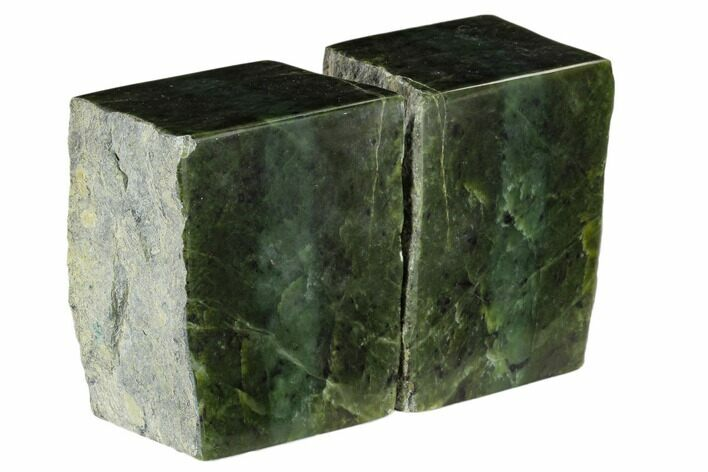 "4.2"" Tall, Polished Jade (Nephrite) Bookends - British Colombia"