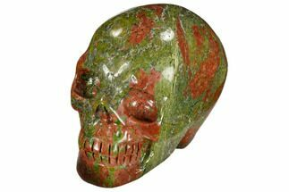 "2.4"" Carved, Unakite Skull - South Africa For Sale, #118103"